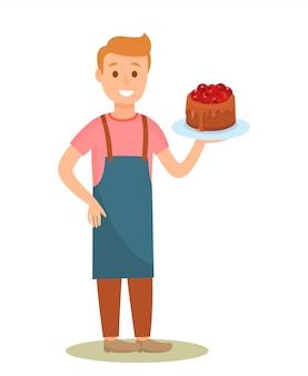 Confeiteiro segurando o personagem de desenho animado de bolo saboroso
