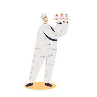 Confeiteiro segurando uma bandeja com cupcakes e uma ilustração de frutas frescas