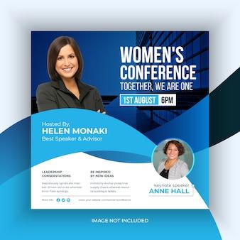 Conferência das mulheres mídias sociais post banner