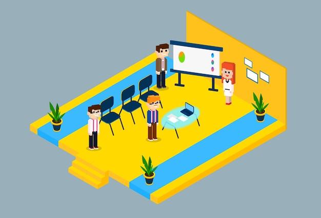 Conferência de grupo de pessoas de negócios reunião 3d isométrico design