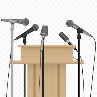 Conferência de imprensa orador tribuna pódio