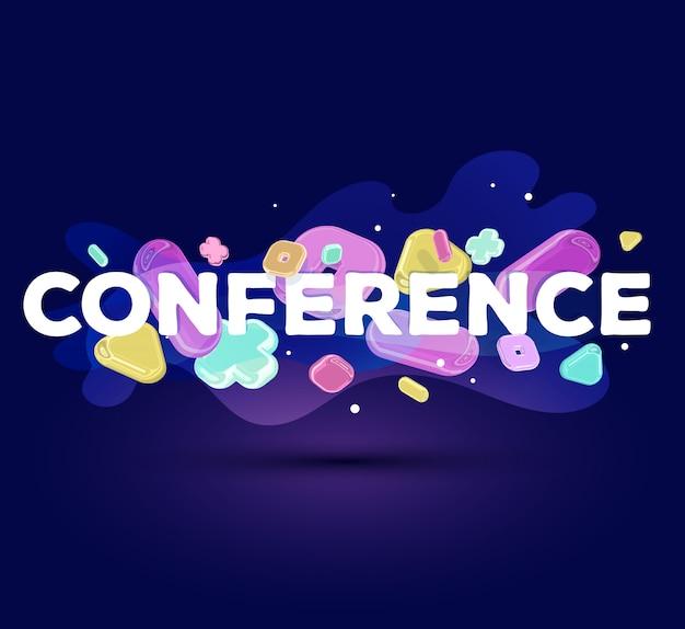 Conferência de inscrição empresarial moderno com elementos de cristal brilhante sobre fundo azul escuro.