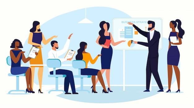 Conferência de negócios, brainstorm flat