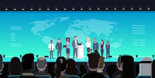 Conferência de negócios debate público conceito de entrevista encontro internacional oficial na frente da grande a