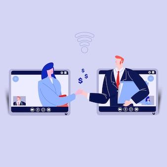 Conferência de negócios por videochamada