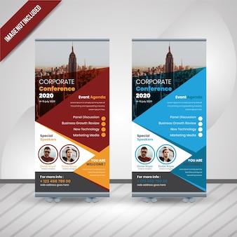 Conferencia de negócios roll up banner design