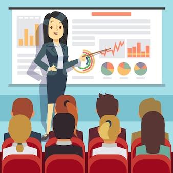 Conferência de negócios, seminário com orador na frente do público. motivação empresarial