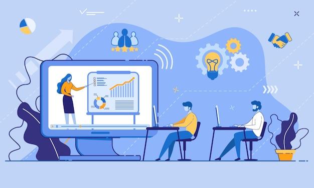Conferência de treinamento on-line para funcionários de escritório