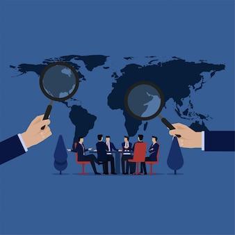 Conferência do problema de procura de líder mundial ao redor do mundo.