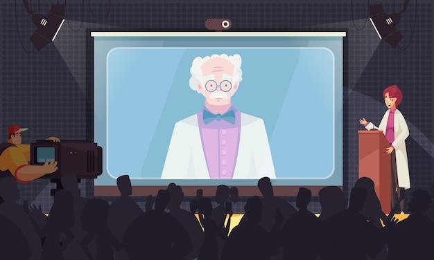 Conferência médica conferência on-line de composição colorida com dois palestrantes e uma grande sala de conferências
