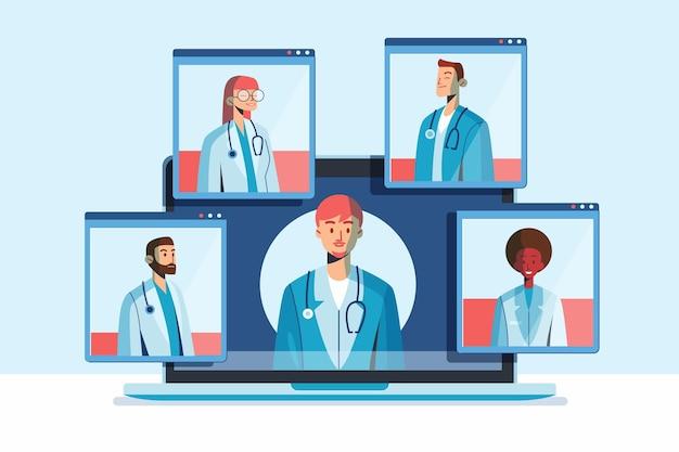 Conferência médica online com médicos