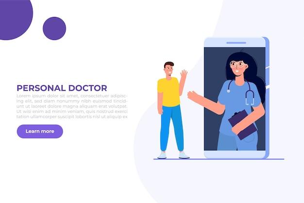 Conferência médica online, conceito de consulta online doctor distant. ilustração vetorial plana