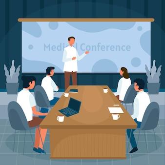 Conferência médica plana
