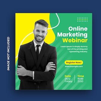 Conferência mídia social pós-marketing comercial banner social e flyer quadrado