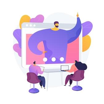 Conferência na web. pessoas ouvindo seminário interativo online, palestra na tela do computador. webconferência, webcast, webinar, e-learning. ilustração vetorial de metáfora de conceito isolado