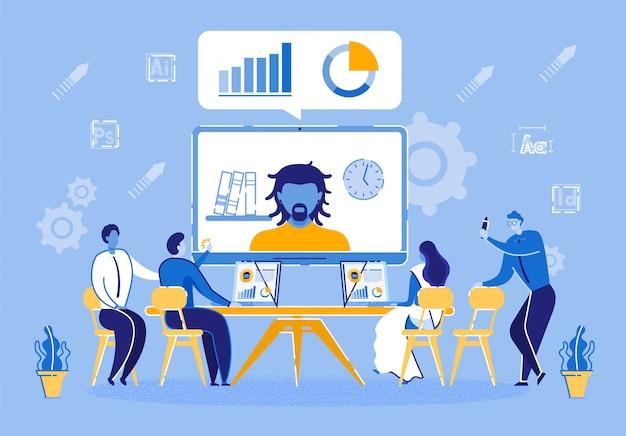 Conferência on-line com o parceiro de negócios da empresa