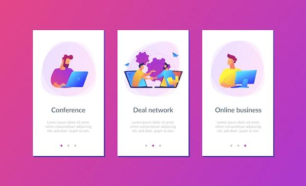 Conferência on-line e modelo de interface de aplicativo de negócios.