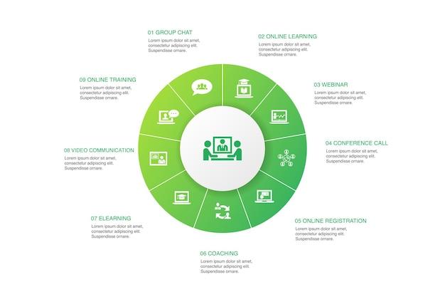Conferência online infográfico de 10 passos círculo design.grupo chat, aprendizagem online, webinar, ícones simples de teleconferência