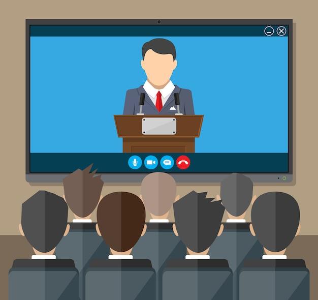 Conferência online. reunião na internet, videochamada