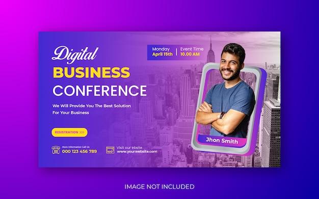 Conferências de negócios you tube miniatura ou web banner template design