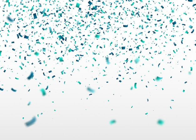 Confete azul caindo aleatoriamente. fundo abstrato com partículas voadoras