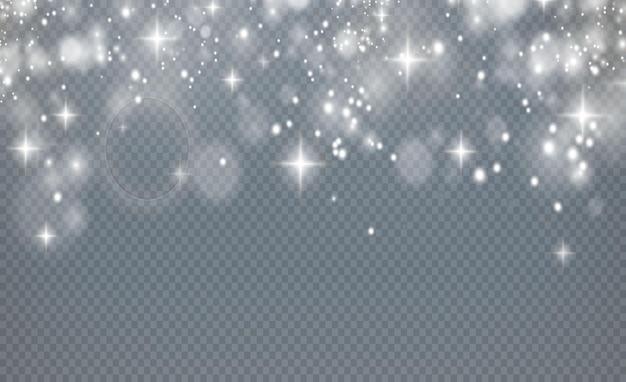 Confete bokeh luz brilhante de natal e textura de sobreposição de faísca para seu projeto