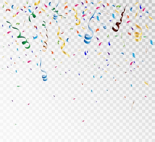 Confete brilhante colorido, sobre um fundo transparente. ilustração festiva.
