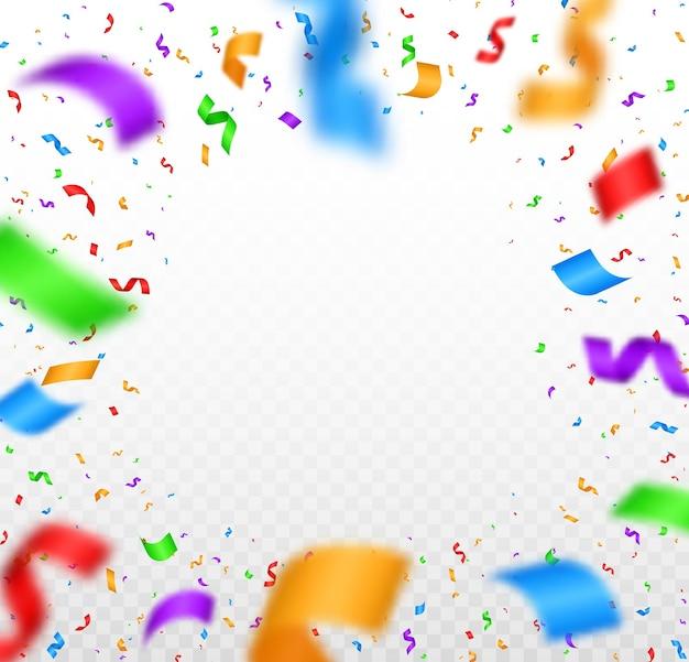 Confete colorido o ouropel festivo colorido brilhante