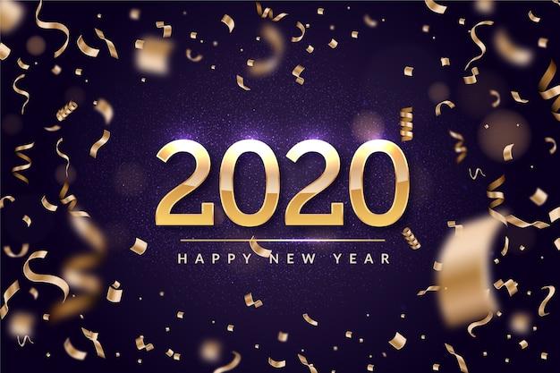 Confete de ano novo de fundo