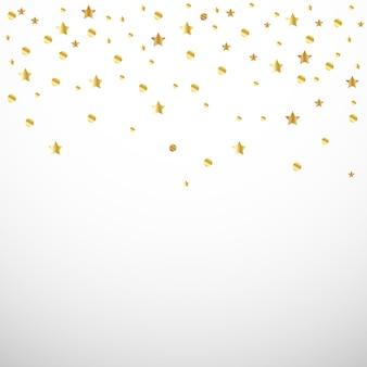 Confete de ouro um coração e uma estrela