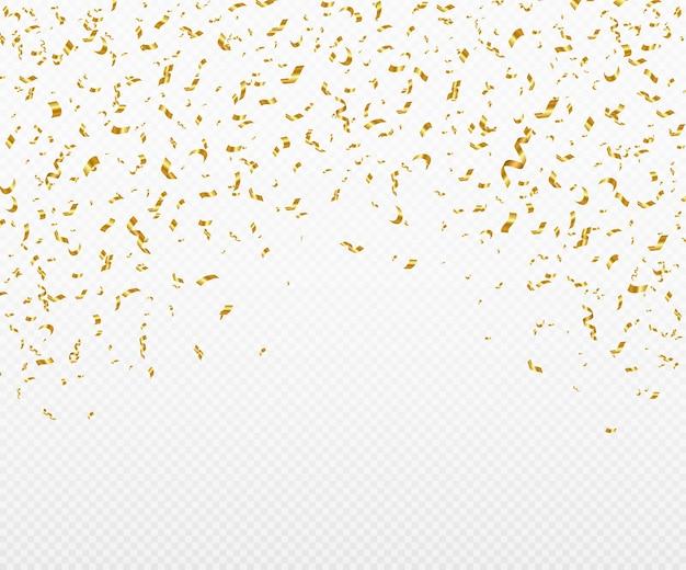 Confete dourado brilhante caindo o ouropel festivo brilhante de cor dourada