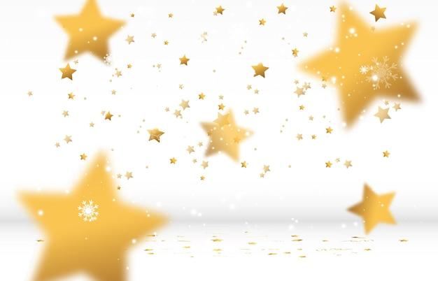 Confete dourado cai. flâmulas caindo no palco.