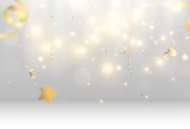 Confete dourado cai