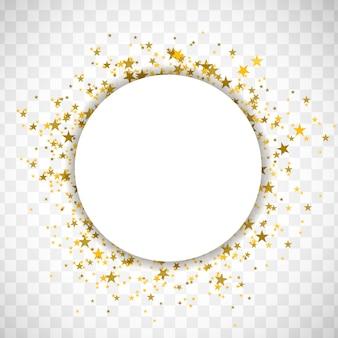 Confete dourado com papel circular para o seu texto. ilustração vetorial