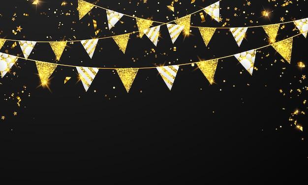 Confete dourado e bandeira guirlanda