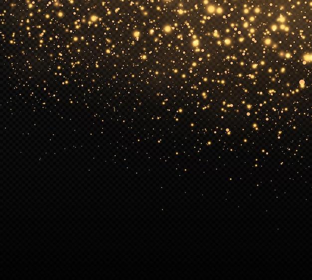 Confete dourado e textura de glitter em um fundo preto