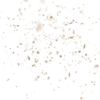 Confete dourado fora de foco em fundo branco.