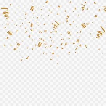 Confete dourado isolado no fundo branco