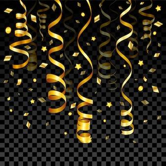 Confete e serpentina de ouro