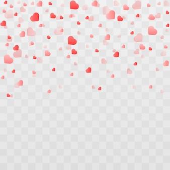 Confete feito de corações em fundo transparente