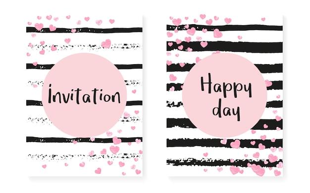 Confete glitter rosa com pontos e lantejoulas. conjunto de cartões de convite de casamento e chá de panela. fundo de listras verticais. confete concurso glitter rosa para festa, evento, salvar o panfleto de data.