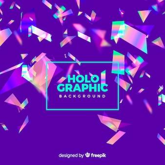 Confete holográfico realista caindo fundo