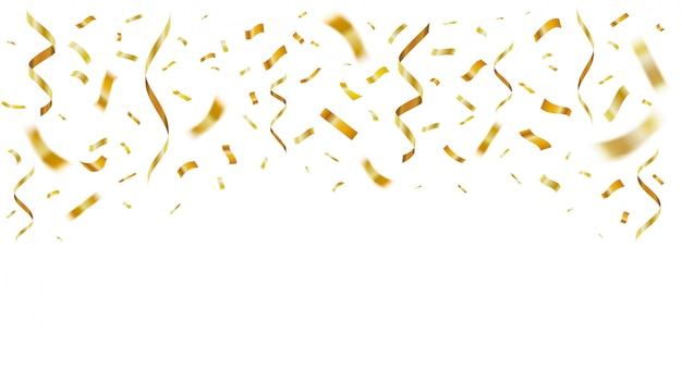 Confete realista brilhante ouro. papel de celebração dourado voando decoração de festa de confete para aniversário. modelo de fitas festivas caindo. serpentina amarela da folha para cartão de aniversário surpresa