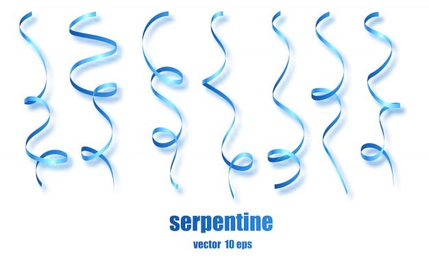Confete serpentina de fita azul encaracolado.
