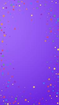Confete vivo festivo. estrelas de celebração. alegres estrelas em fundo violeta. modelo de sobreposição festivo favorável. fundo vertical do vetor.