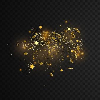 Confetes brilhantes brilham isolados em um fundo transparente quadriculado