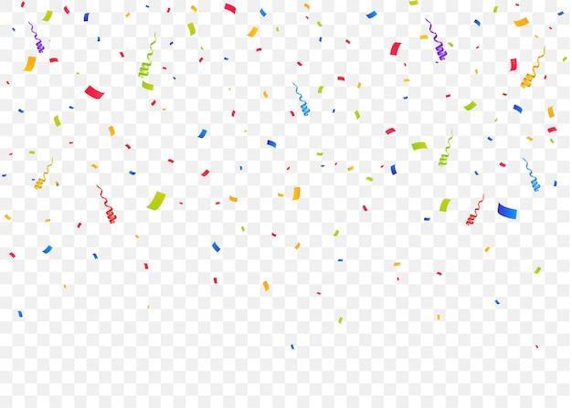Confetes caindo de cor isolado fundo. pedaços de papel coloridos. explosão de confete