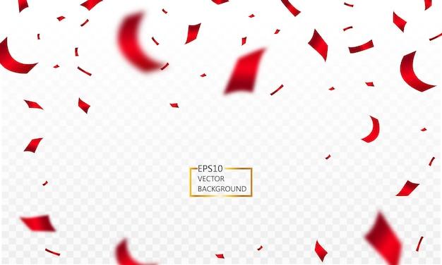 Confetes caindo e fitas vermelhas isoladas