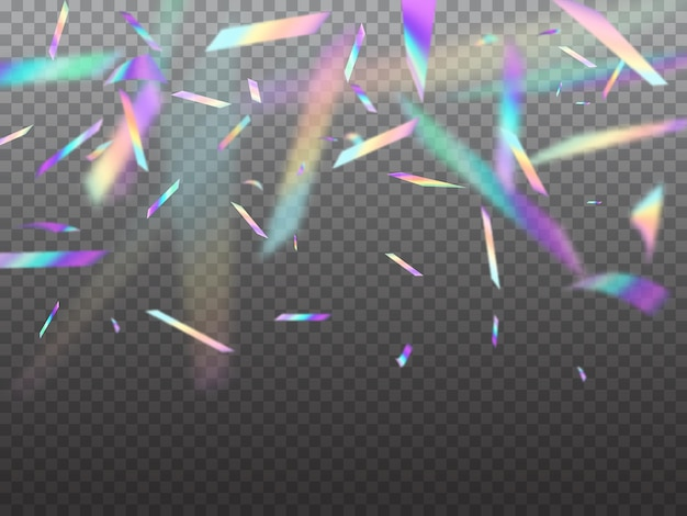 Confetes caindo holográficos brilham com luz bokeh. folha iridescente do holograma do vetor cair de cima, isolado no fundo transparente. o ouropel festivo do arco-íris com brilho para a celebração do feriado