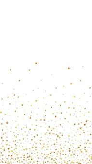 Confetes cintilantes de luxo de estrelas douradas. pequenas partículas de ouro espalhadas no fundo branco. excelente modelo de sobreposição festivo. fundo adorável do vetor.